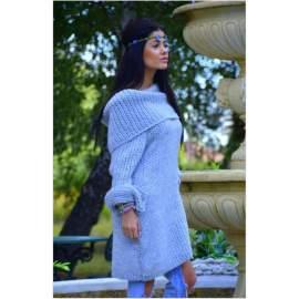 Hosszú pulóver-szürke