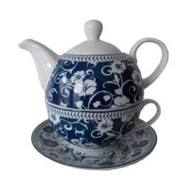 Egyszemélyes teáskészlet- kék mintás