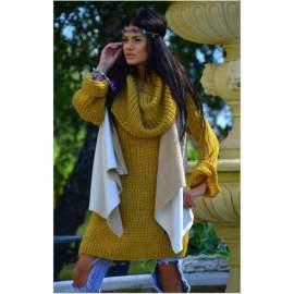 Hosszú pulóver- mustársárga