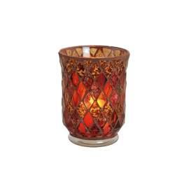 Mécsestartó üvegmozaik piros 15 x 11cm