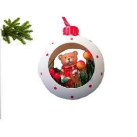 Karácsonyi dísz- karika macival-8cm