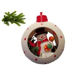 Karácsonyi dísz-karika hóemberrell-8cm