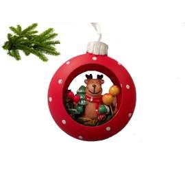 Karácsonyi dísz-karika rénszarvassal-8cm