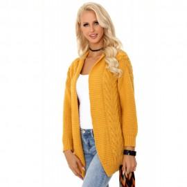 Fonott mintás hosszú kötött pulóver-mustár